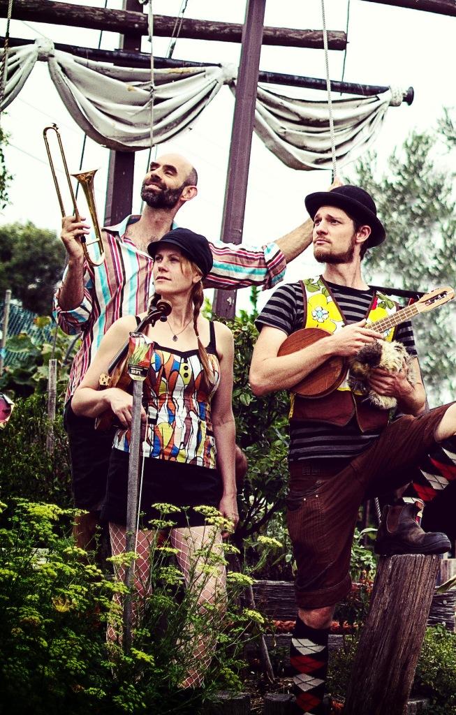 Formidable Vegetable Sound System Band Trio: Mal Webb, Kylie Morrigan & Charlie Mgee. Photo: Dom Hook